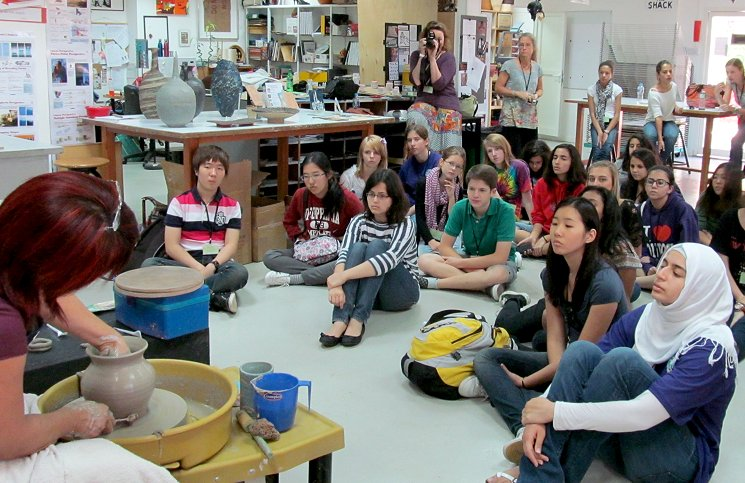 Pottery demonstration for college students