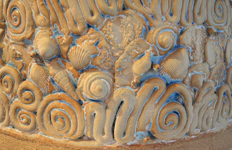 Detail of pottery artwork by Homa